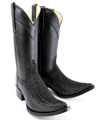 "New Reg: $795 discounted sale clearance diamond Boots Original Black Deer Skin And Bull Neck ""3X-Toe"" Boots"