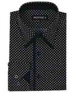 Classic Fit Mini Polka Dot Design Black Dress Shirt