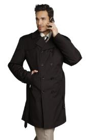 Mens Stylish Black Rain Double Breasted Rain Coat ~ Trench Coat