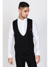 Black Double Breasted Waistcoat