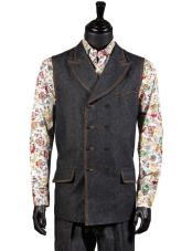 Black Denim Mens 2 Pc Double-Breasted Dress Tuxedo Wedding Vest ~
