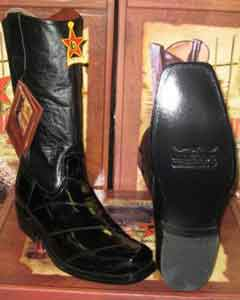 Altos Black Genuine Eel Western Cowboy Biker Motorcycle Boot