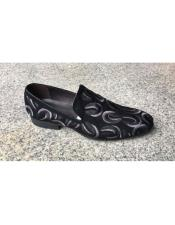 Black Embroider Genuine Suede Leather Slip-On Loafer Unique Zota Mens Dress