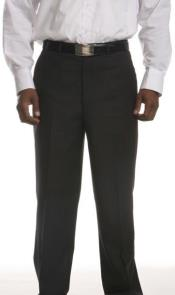 Lightly Striped Flat-Front Dress Pants Black