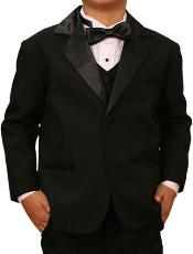 Quality Solid Black Kids Sizes Tuxedo Formal Boys Suit