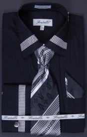 Mens French Cuff Dress Shirt Tie Hanky and Cuff Links -