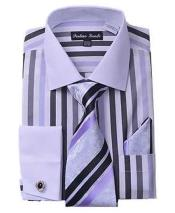 Classic Fit French Cuff Striped Black Shirt With Matching Tie And Hanky