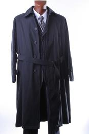 Mens Dress Coat Black Full Length All Year Round Raincoat-Trench Coat