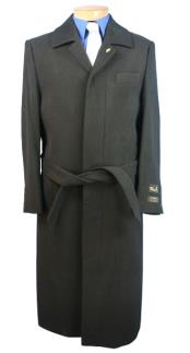 Dress Coat Alberto Nardoni Belted Wool Black Full Length Wool Blend