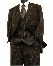 Bold Gangester Mens Classic Pinstripe Suits w/Vest Black with Red Stitching -
