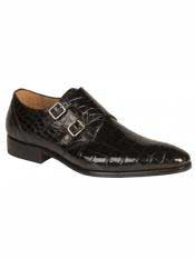 Mezlan Brand Black Genuine World Best Alligator ~ Gator Skin Double Monk Strap Loafer Shoes