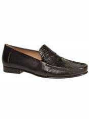 Brand Black Genuine Crocodile Loafer Shoes