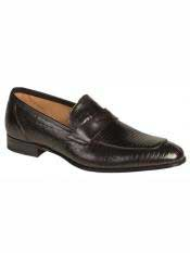 Brand Black Genuine Lizard Loafer Shoes