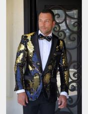 Fashion Shiny Black/Gold/Sequin Flashy Stage Party Paisley Black Satin Shawl Lapel Sportcoat Blazer