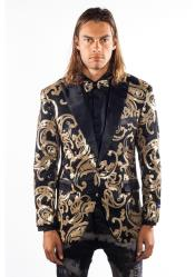 Mens Shiny Sequin Flashy Blazer ~ Sport Coat Black/Gold