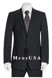 Black & Gray Mini Thin Pinstripe Suit Wool 2 Button Jacket Flat front Pants side back vent