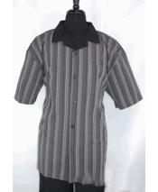 Mens Black ~ Gray 5 Buttons Stripe Pattern Short Sleeve Shirt Walking