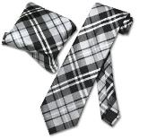 Gray White NeckTie & Handkerchief Matching Tie Set