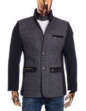 Mens Black Grey Button Up Closure Mandarin Collar Long Wool Coat