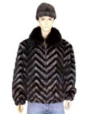 Fur Black/Grey Pull-Up Zipper Black Fox Collar Jacket