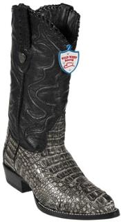 West Rustic Black J-Toe caiman ~ World Best Alligator ~ Gator Skin Hornback Cowboy Boots