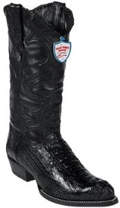 West Black J-Toe caiman ~ World Best Alligator ~ Gator Skin Hornback Cowboy Boots