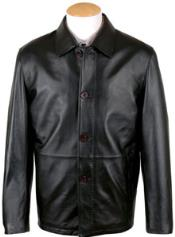 Mens Pen Stitching Lamb Leather Button Coat Black Big and Tall Bomber