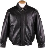 Quilted Lining Lamb Leather Big and Tall Bomber Jacket Black