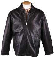 Mens Black Lamb Leather Zip JD  with Removable Liner Big and