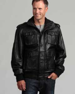 Mens Black Lambskin Leather Bomber Jacket