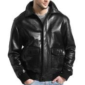 Mens Black Lambskin Leather Bomber Jacket Black