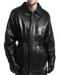 Lambskin Leather Belted 3/4 Coat With zip-Out Liner