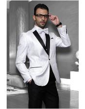 Mens White Sport coat Black Lapel Floral Shiny Tuxedo Paisley Flashy Satin