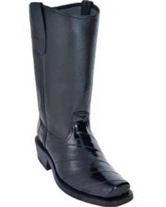 Mens Eel Biker Boots With Leather Sole Black- Botas De Anguila