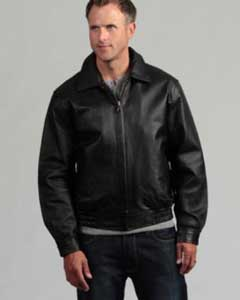 Pig Napa Leather Big and Tall Bomber Jacket Black