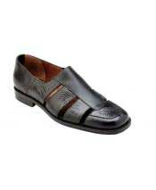 Mens Black Leather Genuine World Best Alligator ~ Gator Skin ~Italian Calf Sandals
