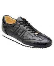 Mens Black Leather Lace Up Genuine Ostrich Casual Sneakers