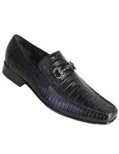 Altos Mens Stylish Black Genuine Caiman Belly and Lizard Classic Slip-On Dress Shoes