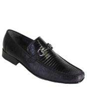 Altos Mens Stylish Genuine Teju Lizard Skin Slip-On Black Casual Dress Shoes