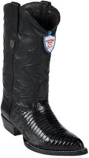West Black Teju Lizard Cowboy Boots