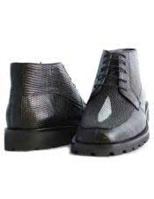 Los Altos Boots  Mens Black Stylish Genuine Lizard & Stingray mantarraya