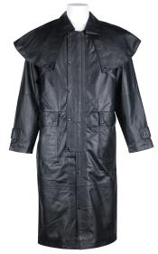 Dress Coat Black Long Leather Duster Trench Coat