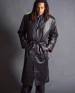 Dress Coat Long Leather Duster Trench Coat Black