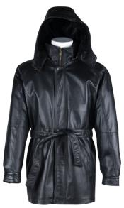 Coat Long Black Leather