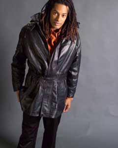 Black medium lengthelastic type Leather Duster Trench Coat ~ unique men's suit jacket