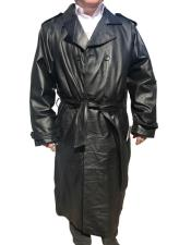 Black Real Leather Long