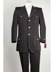 Black Notch Lapel Military