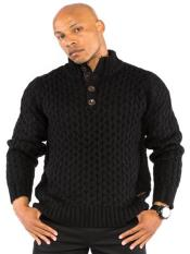 Mens Cable Knit With Button Detail Sweater Available in Big And