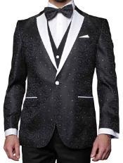 1 Button Black P A I S L E Y Tuxedo with white satin Lapel and diamond