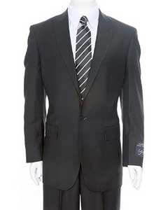 Black 1-One button Peak Lapel Suit + Flat Front Pants Super